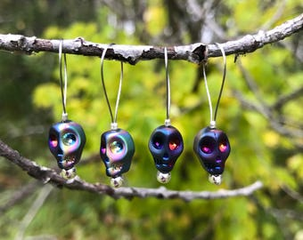Glass Skull Stitch Markers - Knitting Supplies - Set of 4