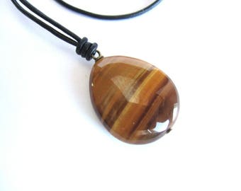 Mens tiger eye pendant, men leather necklace, brown stone pendant leather necklace, tiger eye leather necklace, mens stone pendant