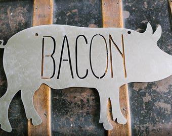 Bacon Pig Metal Sign // Modern Farmhouse Decor // Fixer Upper Style // Kitchen Decor // Bacon