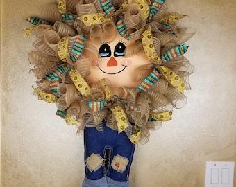 Fall Wreath, Fall Scarecrow Wreath, Welcome Wreath, Scarecrow Wreath, Thanksgiving Wreath, Autumn Wreath, Fall Decor