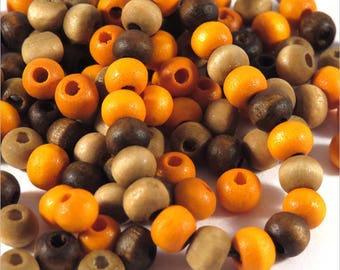 Wood beads 6mm mix matched 300 pcs Brown Orange