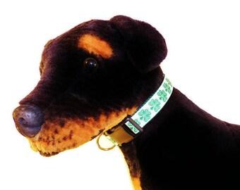 Large Celtic Shamrock Adjustable Dog Collar