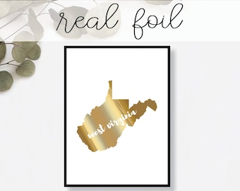 West Virginia State Print // Real Gold Foil // Minimal // Gold Foil Print // Decor // Modern Office Print // Typography // Fashion Print