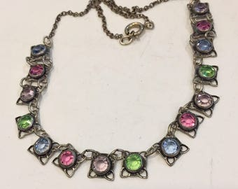 Beautiful Deco necklace in multi-colored crystals..