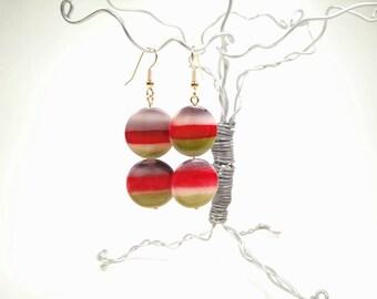 Tricoloured Shell Bead Earrings
