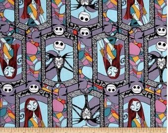 Disney Fabric: Disney Nightmare Before Christmas Sally And Jack Stained Glass Multi 100% cotton fabric by the yard (SC1048)