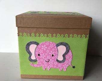 Wonderful Elephant Baby Shower/birthday Party Card Box, Safari Baby Shower Card Box.