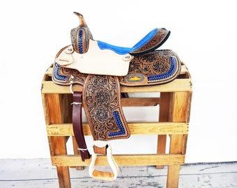 "15"" Blue BuckStitched Western Horse Pleasure Trail Barrel Racer leather Saddle"