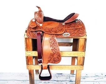 "16"" Handmade Western Barrel Horse Pleasure Trail Floral Tooled leather Saddle"