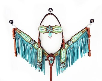 Handmade Teal Beaded Feathers Bling Leather Hand Painted Headstall Western Horse Trail Bridle Fringe made To Order Breast Collar Set