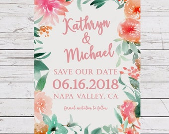 Save the date Card, Floral Save the Date, Boho Save the date, Rustic Save the Date, Watercolor Save the date, Wedding Countdown