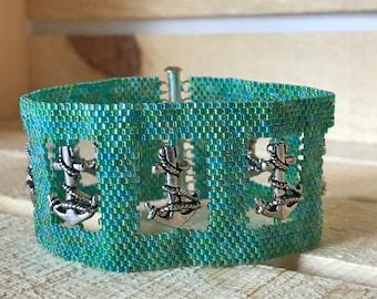 Anchors Away! Peyote Stitch Open Window Bracelet