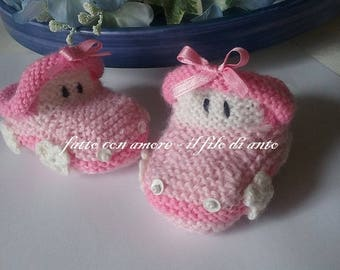 Baby booties in pink and Fuchsia
