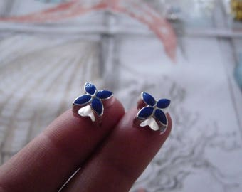 Flower Beads, Silver Plated Flower Charms Spacer Beads, Blue Flower Beads, Large Hole Spacer Beads, Blue Petal Big Hole Beads