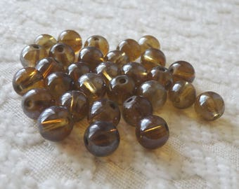 10x Brown Beads, 8mm Light Coffe Glass Beads, Coffee Glass Beads, Spacer Beads, Beading Supplies