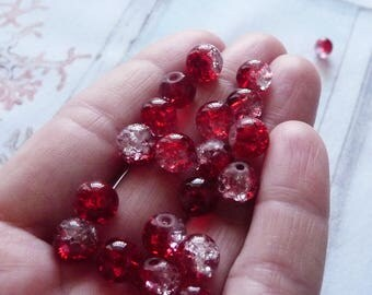 10x Red Glass Beads, Crackle Glass Beads, 8mm Marbles Cracked Glass Beads, Red Crackled Glass Beads, Spacer Beads, Beading Supplies
