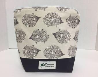 Wedge Bag, Knitting Project Bag, Make-up Bag, Sock Size, Hedgehogs