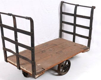 Iron and Wood Industrial Rolling Cart, Industrial Rolling Factory Cart - Local Pick Up Only