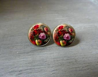 Boucles d'oreilles puces bouquet de fleurs cabochon rétro vintage romantique fleurs Boucles d'oreilles romantique