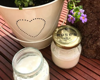 Pair Citronella Soy Travel Candles in vintage L Rose & Co Ltd lidded jars