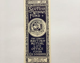 Antique 1910's Scottish Widows Fund Bookmark