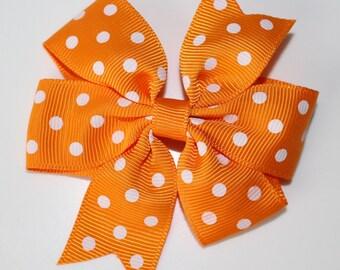 Bow tie hair clip orange white polka dot for girl