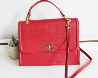 Vintage Borse In Pelle Large Italian Red Textured Leather Gold Clasp Front Flap Satchel Across Body Messenger Grab Shoulder Bag Purse
