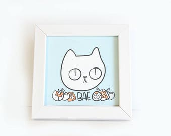 Cat Art Print / Cat Art Prints / Cat Illustration / Cat Illustration Print / Cat Drawing / Cat Art / Cat Lady Print / Cat Gift / Bae