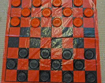 """Vintage 2.5"""" diameter Traveling Giant Red Black Checkers Set with Board 1960s Plastic"""