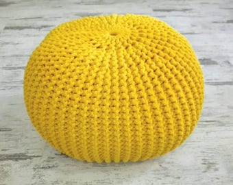 Knitted Pouf   Colours, Yellow, Seat, Crochet Pouf, Ottoman, Footstool