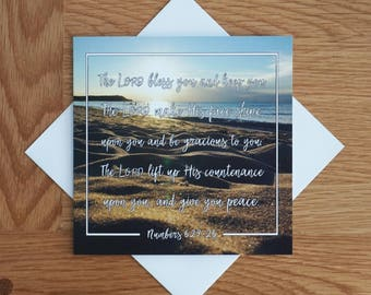 Bible Verse - Photography Greetings Card - 148 x 148 - Numbers 6 - The Lord Bless you... - Blank Inside - Any occasion