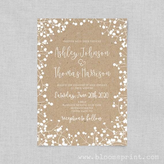 Printable Wedding Invitation Template, Rustic Wedding Invitation Cards, Barn Wedding Invitation, Country Wedding, Kraft, Gypsophila, Invite