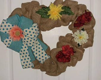 Burlap Heart floral Wreath