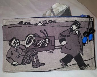 Comics (nickel plated feet) set of two linen/cotton pouches close with zip blue
