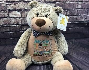 Personalized stuffed Bear, Adoption Gift, Monthly Milestone Prop,  Personalized baby gift, Keepsake, Stuffed Animal, Birth Stat, Shower Gift