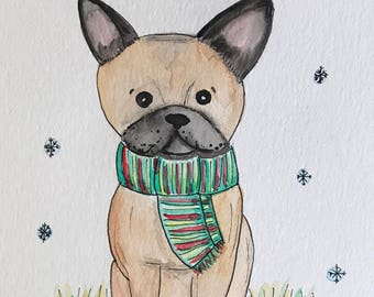 Winter French Bulldog Watercolor