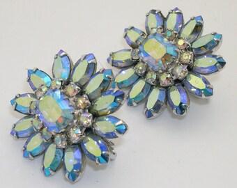 Vintage Vendome Blue Aurora Borealis Rhinestone Clip Earrings