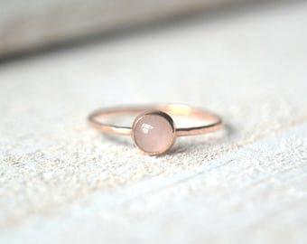 Rose Quartz Ring. Rose Gold Ring, Quartz Ring, Gemstone Stacking Ring, Rose Gold Quartz Ring, Stackable Gemstone Ring, Gold Rose Quartz Ring