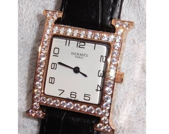 REDUCED...HERMES Rose Gold Plated H Watch with Rhinestones. Perfect