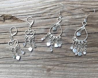 Heart earrings/Valentine's gift/silver heart earrings/sparkle and heart earrings/dangle earrings for your love/2 lengths heart earrings