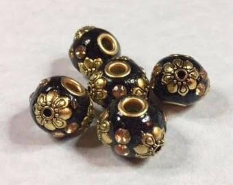5 BLACK & GOLD INDONESIA Beads
