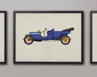 Classic Car Print, Vintage Lancia, Old Car Art, Cars Drawings, Auto Illustration, Nursery Room Prints, Nursery Decor, Cars Poster Circa 1909