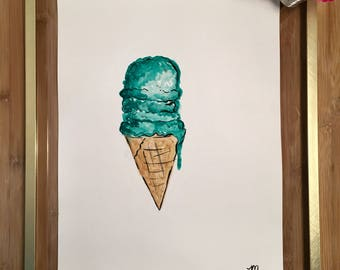 Ice-cream -- Fashion Watercolor Painting