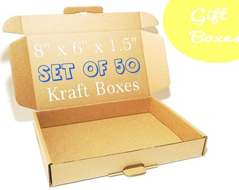 50 Cardboard Boxes With Lids - Packaging boxes, Gift Boxes, Medium Size Corrugated Box, Packaging Supplies, Carton Paper Box, Gift Wrapping