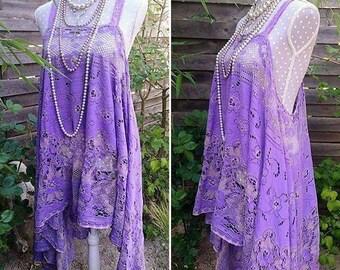 Bohemian rebel romantic vintage lace dress. Stevie Nicks style hippie dress, sunbathing dress. Purple Dress-tunic, Gypsy Boho festival.