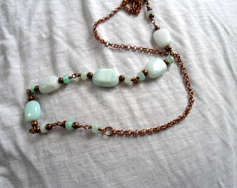 Long Peruvian Blue Opal Necklace