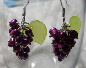 Sterling silver and dyed pearl cluster earrings