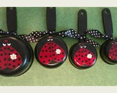 Ladybug Measuring Cups Decor Gift Idea Stocking Stuffer Red + Black