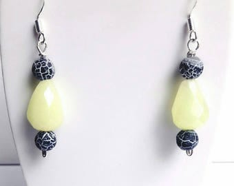 Natural Agate stones earrings, 925 Sterling Silver earrings