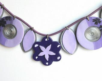 Original necklace with purple flowers and silver gray, flower, petal, spiral, fimo bead